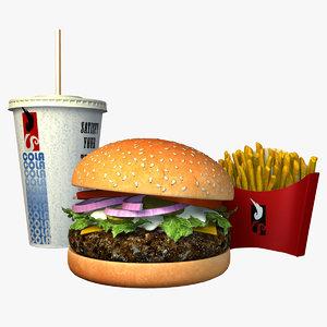 3d model hamburger combo