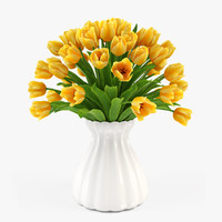 3d model bouquet tulips