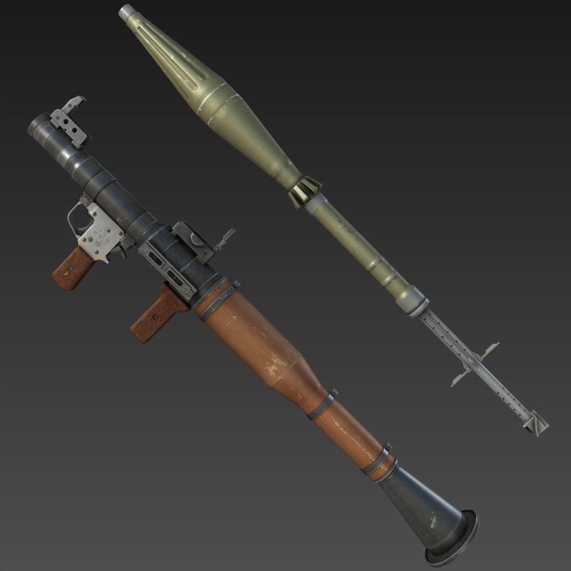 3d model rpg-7 launcher