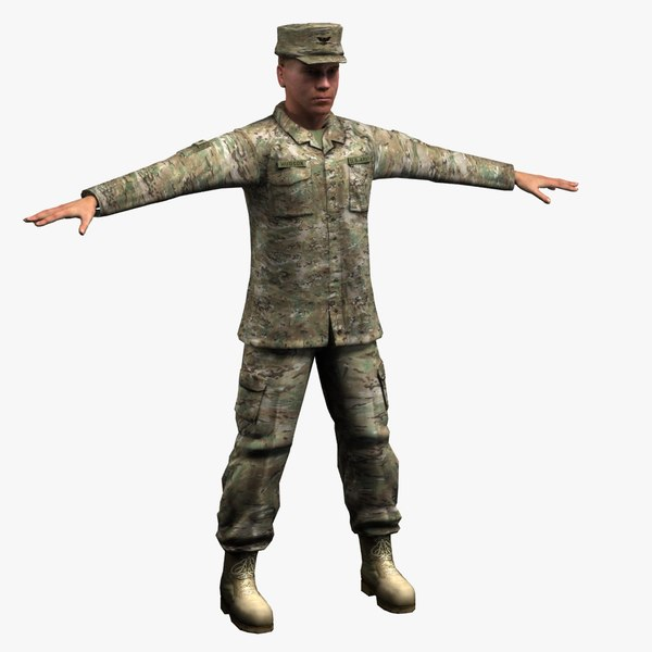 army soldier multicam 3d max