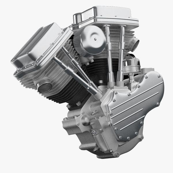3d model v-twin engine