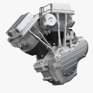 3d model v-twin engine