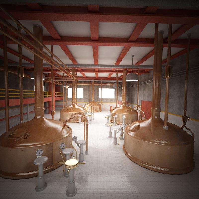 3d brewing interior scene model