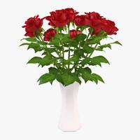 roses vase 3d obj