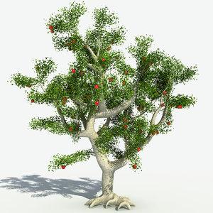 realistic apple tree 3d model