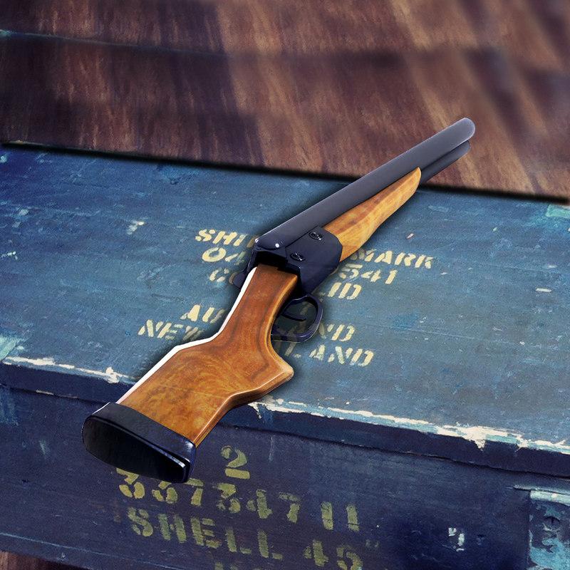 3d model double-barreled shotgun gun bullets