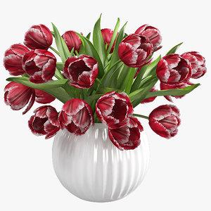 3ds max red tulips vase