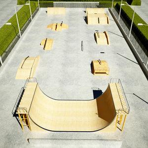3ds max skatepark outdoor scene