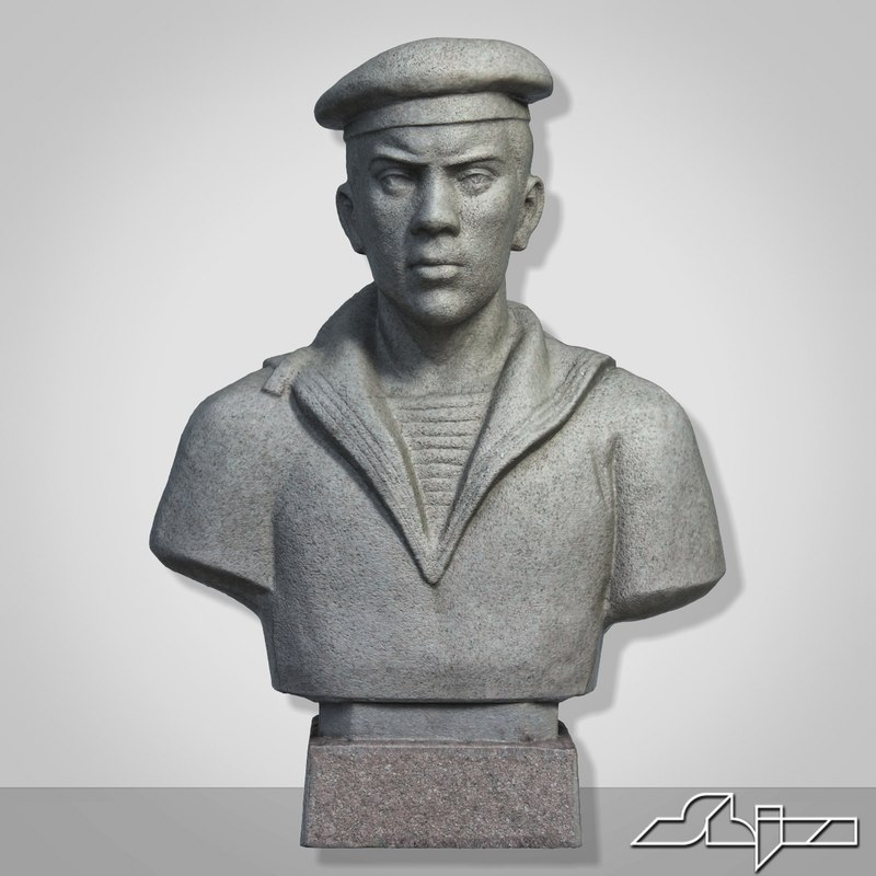 3d model sculpture young sailor bust