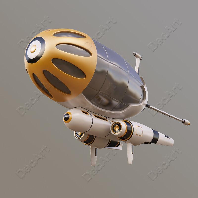 3d model fantasy airship