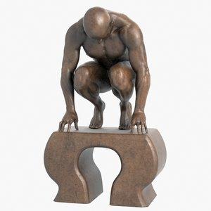3d model modern sculpture crouching man