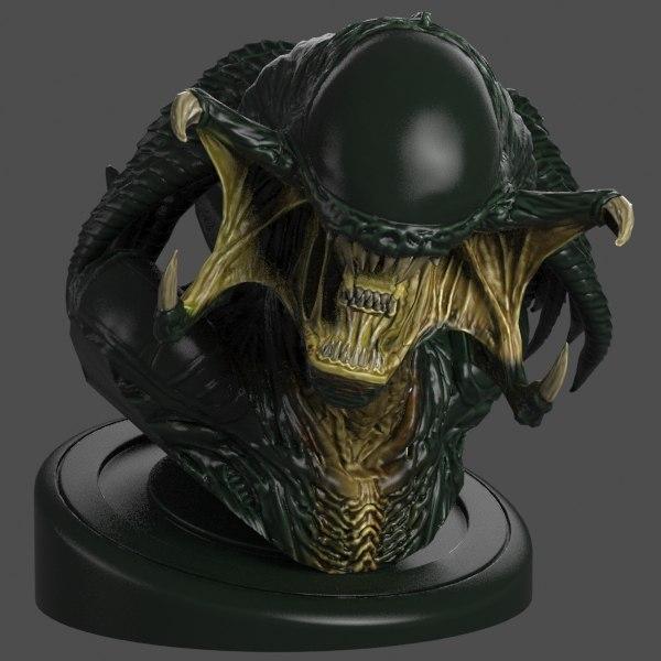 3d model predalien bust