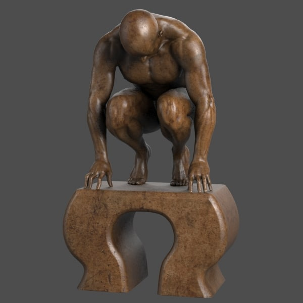 3d model modern sculpture crouching man