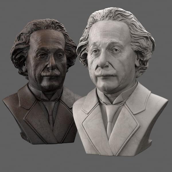 decorative bust albert einstein 3d max