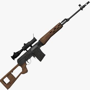 dragunov svd sniper rifle 3d model