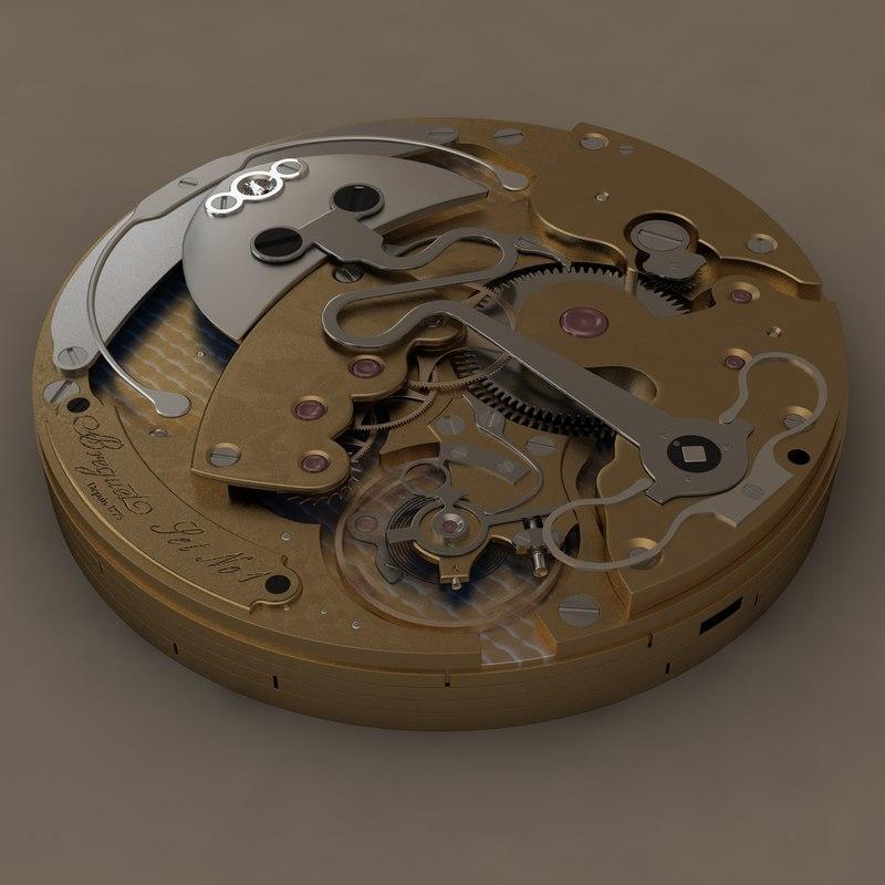 3d watch mechanism breguet model