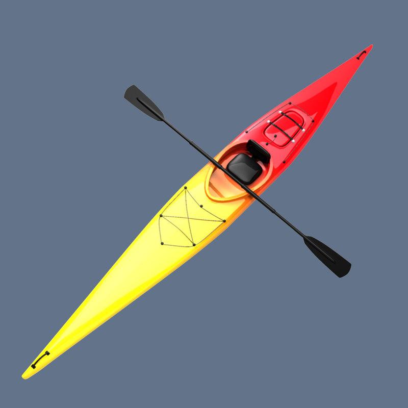 kayak canoe 3d model