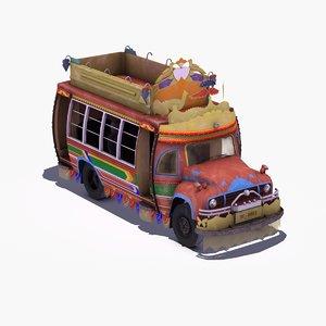 asian jingle truck bus 3d max