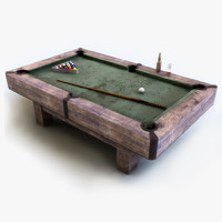 3d model old billiard table