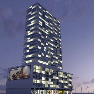 new skyscraper - night 3d 3ds