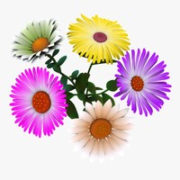 cartoon flowers 3d model