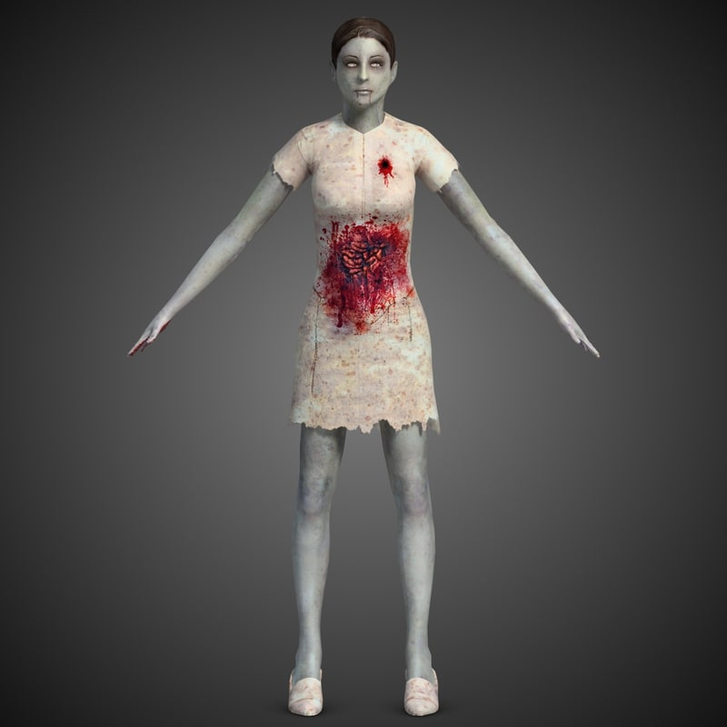 zombie female casual 3d model