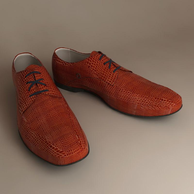 3d model bata shoes crocodile