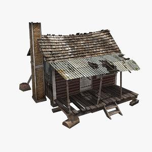 3d model old wooden house games