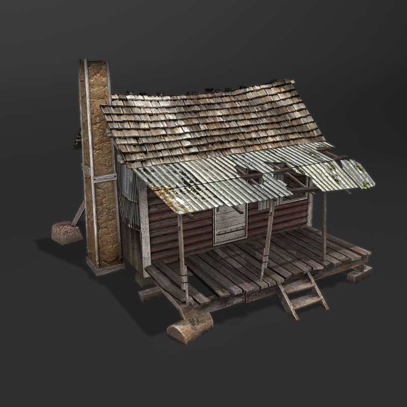 3d model old wooden house games