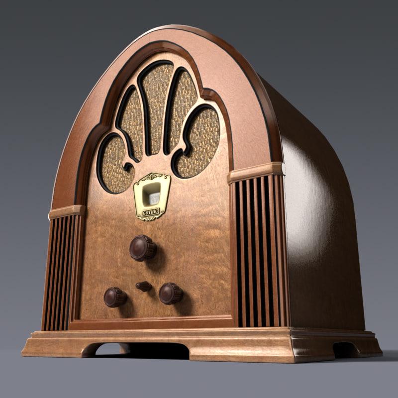 3d 3ds realistic radio antique