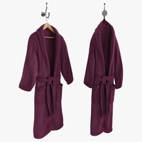Purple Bathrobe on Hanger and Hook