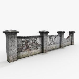 3d old garden wall