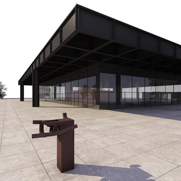 3d neue nationalgallerie museum model