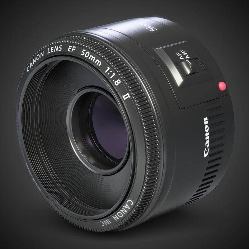 lens canon ef 50mm 3d max
