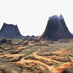 3d model volcano terrain landscape