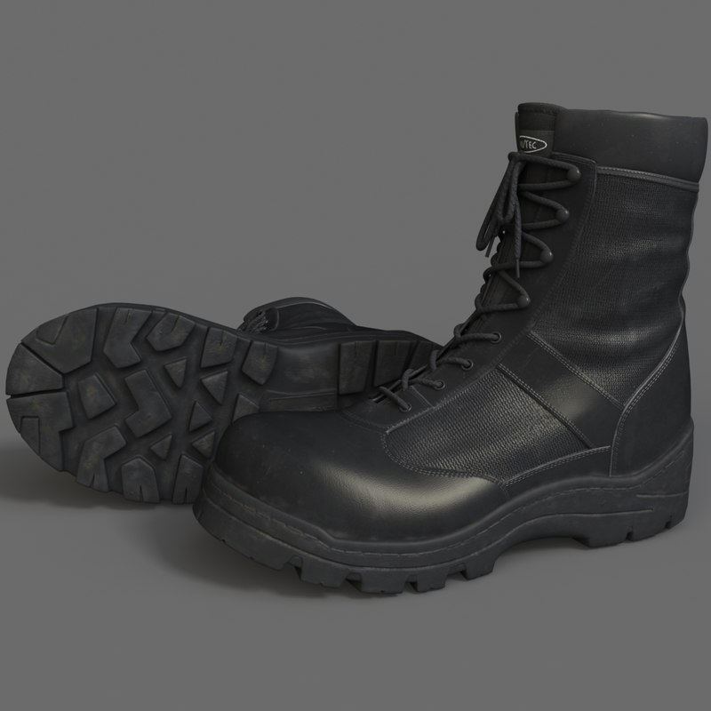 realistic military boots 3d obj