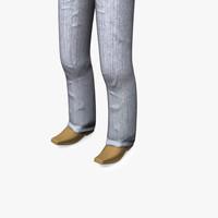 3d human leg rigged model