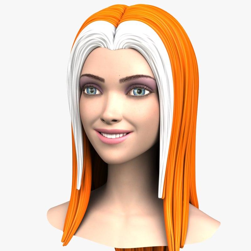 cartoon girl head morph 3d obj