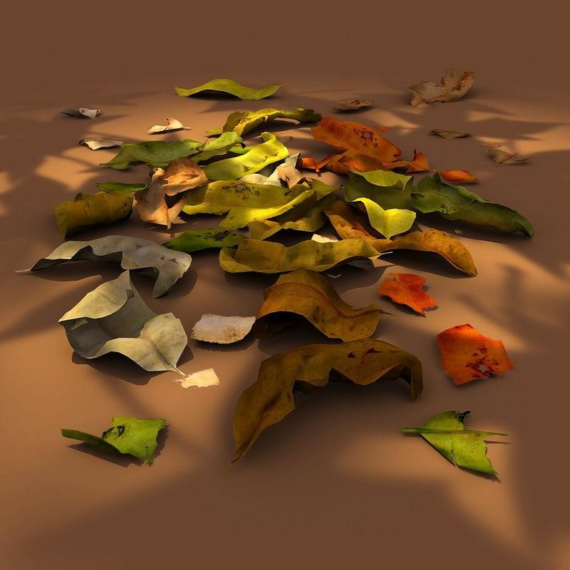 leaf fallen leaves 3d obj