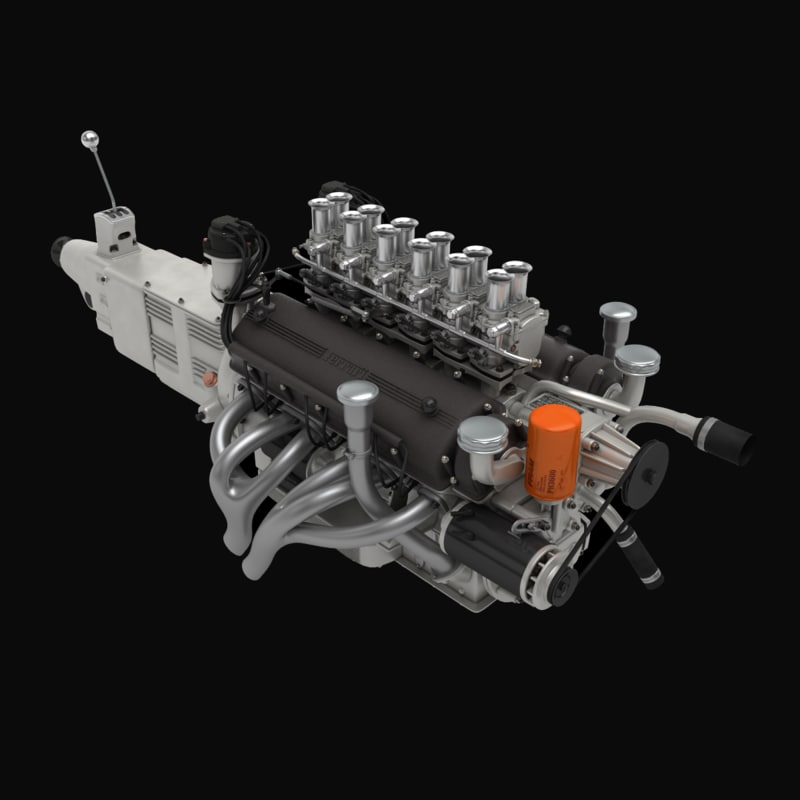 3d ferrari v12 engine gearbox model