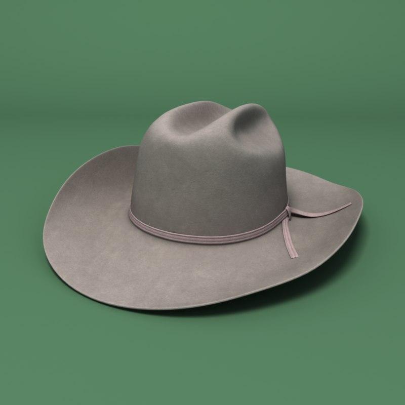 3d realistic felt cowboy hat model