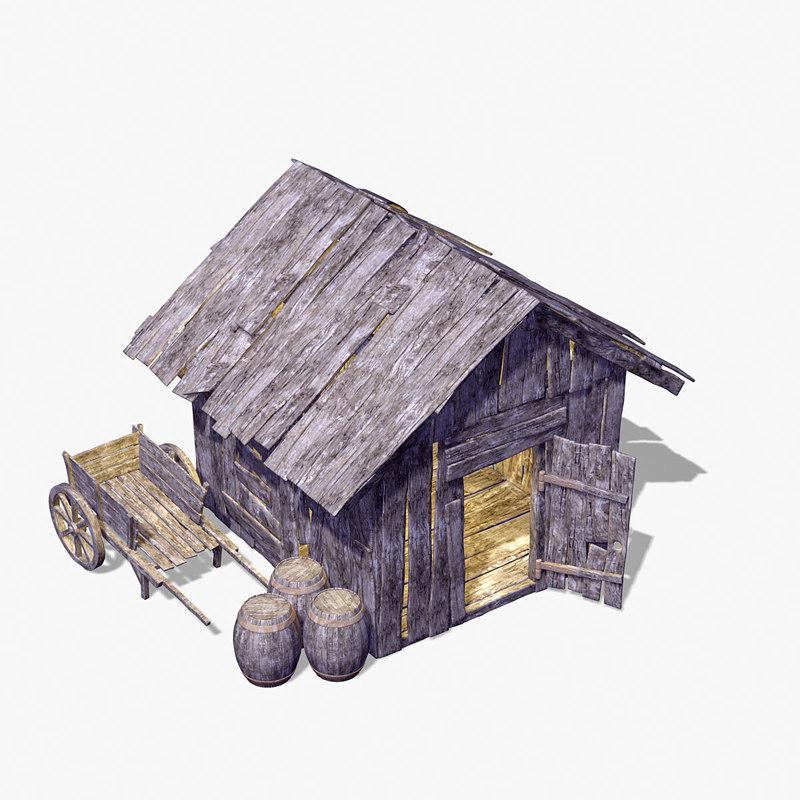 old wooden hut 3d max