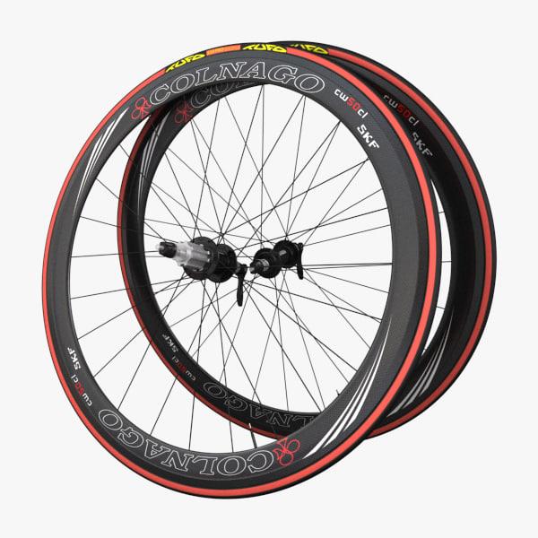 racing bicycle wheels 3d model