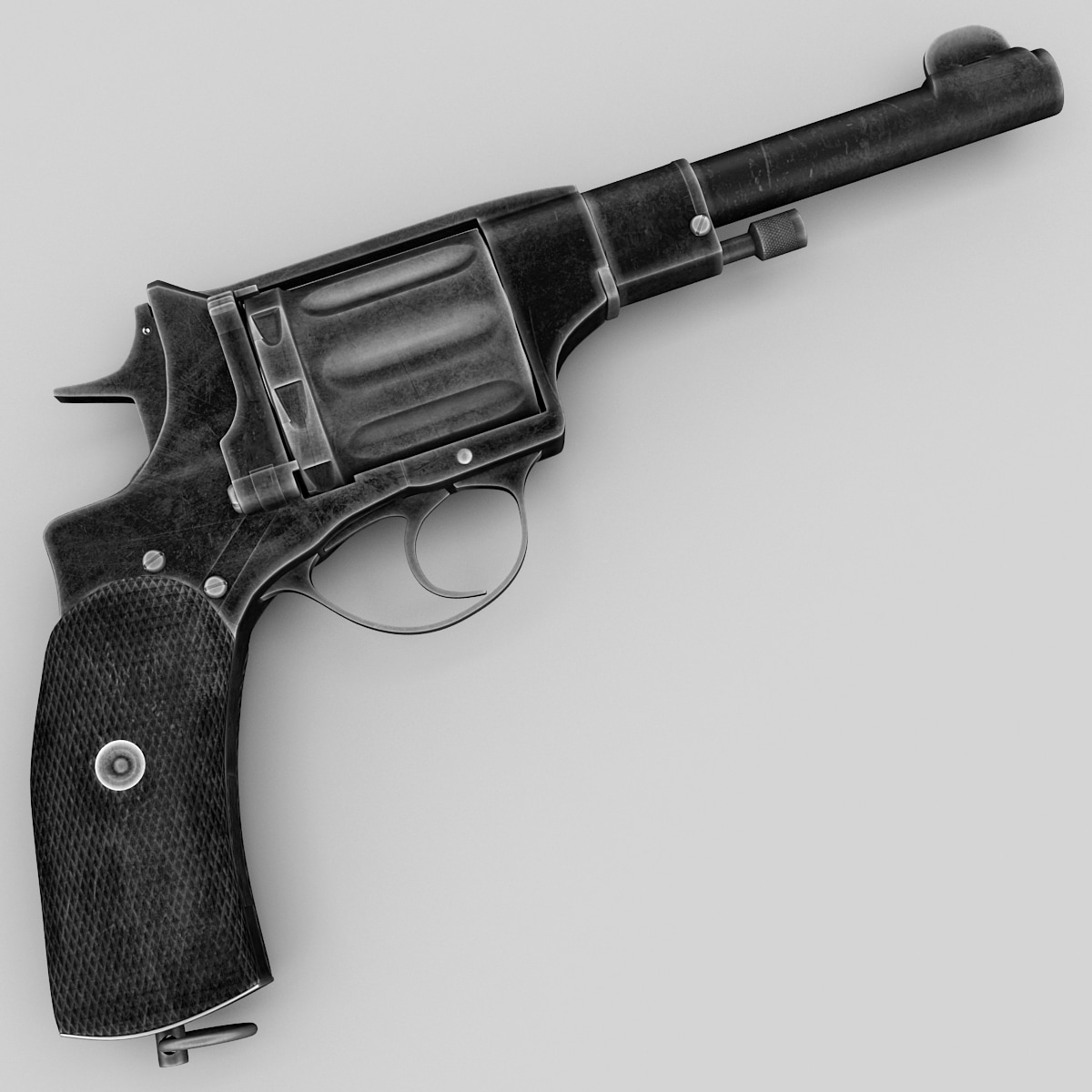 3d revolver nagant m1895 model