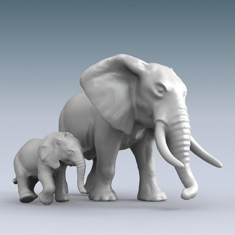 elephant baby 3d max