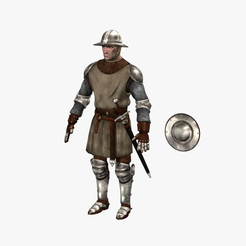 3d foot soldier medieval model