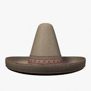 sombrero hat accessories 3d lwo