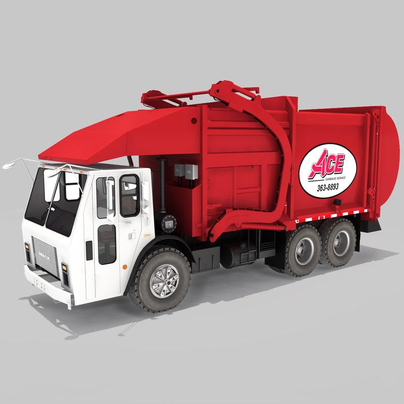 3d model realistic garbage truck 2