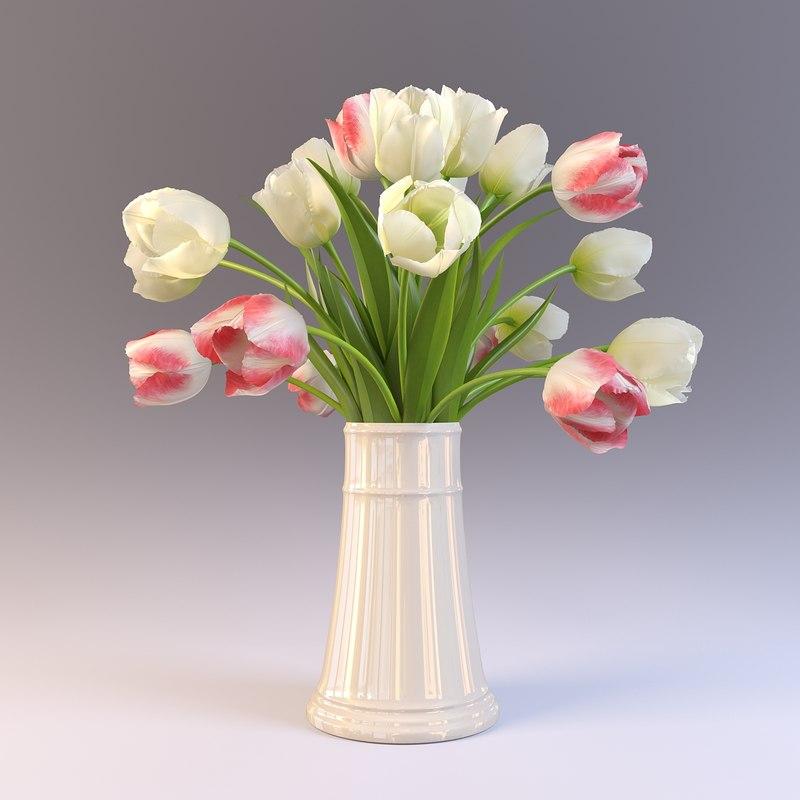 3ds Max Vase Tulips