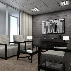 3d office lounge interior model